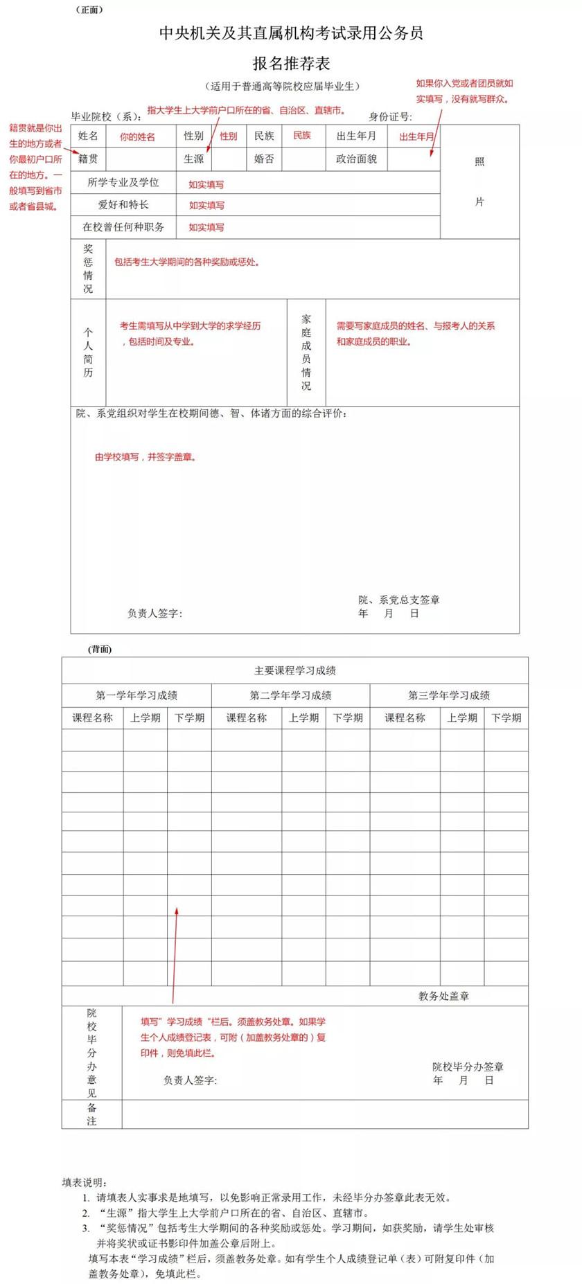 公务员考试如何填写报名推荐表与报名登记表